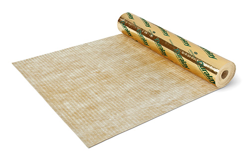 A roll of moisture resistant underlay on a white background