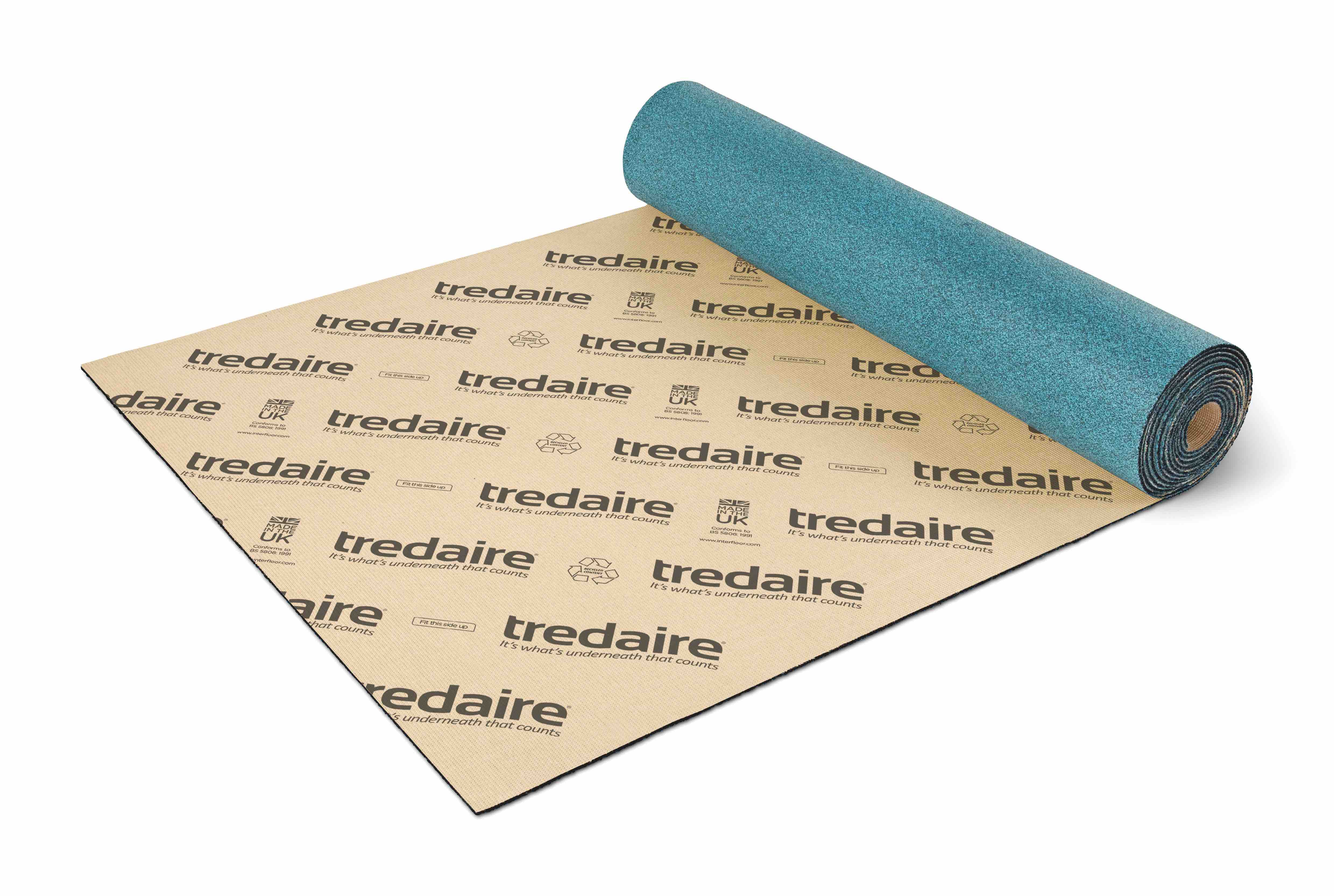 A roll of Tredaire Underlay on a white background