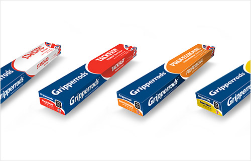 Four Different Packs of Gripperrods Carpet Gripper Rods on a White Background